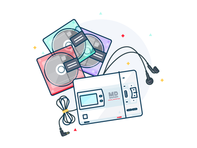 MiniDisc Player gadget music illustration 7daystocreate md player mini disc 90s sony