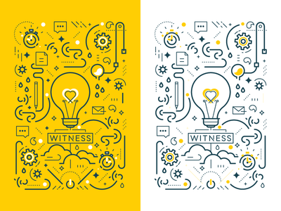 The Creative Process - Mind reno light bulb creative process icons lines illustrations cover design notebook