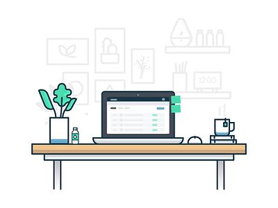 Desktop walls shelves plants tea macbook desktop illustration