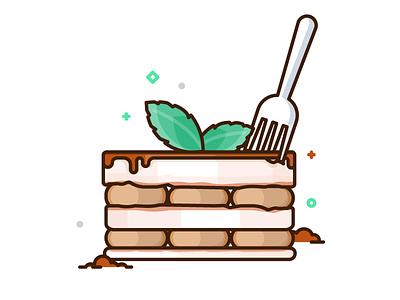 Tiramisu illustrations mint chocolate cake dessert tiramisu