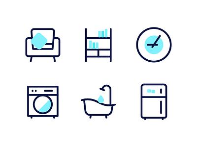 Home Icons bookshelf fridge bathtub washer couch clock furnitures home reno icons