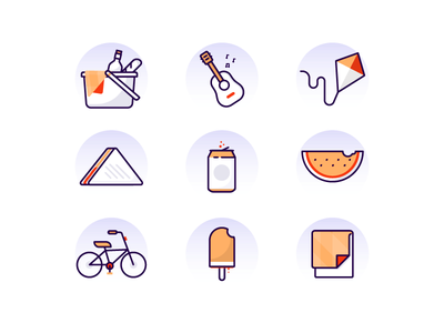 Picnic Icons icons picnic sandwich watermelon kite guitar bike popsicle blanket soda basket