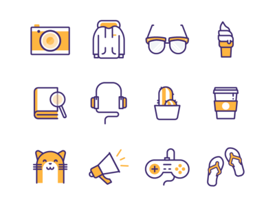 Random Icons icons glasses hoodie camera plant flip flops controller cat headphones reno