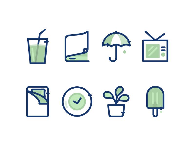 Some Icons motivation clock soda book popsicle rain plant sleep icons