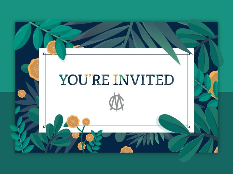 Invitation illustration print plants garden invitation
