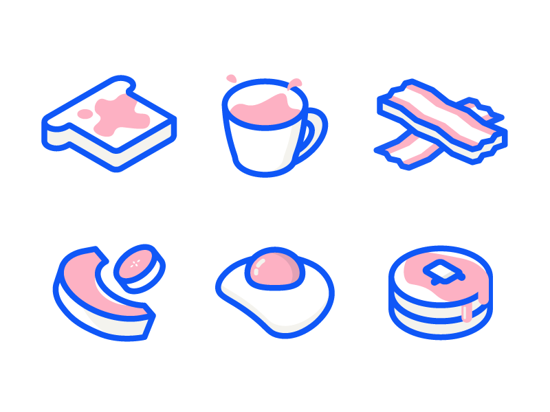 Breakfast Icons bacon toast pancakes egg illustration breakfast icons isometric