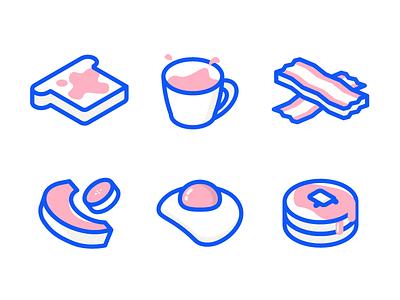 Breakfast Icons bacon toast pancakes egg illustration breakfast icons isometric