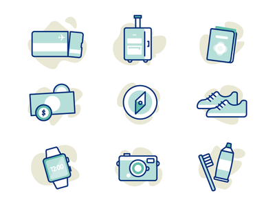 Travel Icons watch toothbrush camera airport passport luggage ticket illustration icons travel