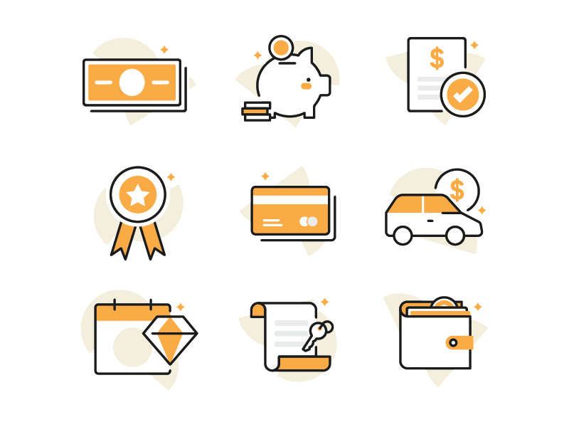 Banking Icons payment loan auto loan savings finance banking icons