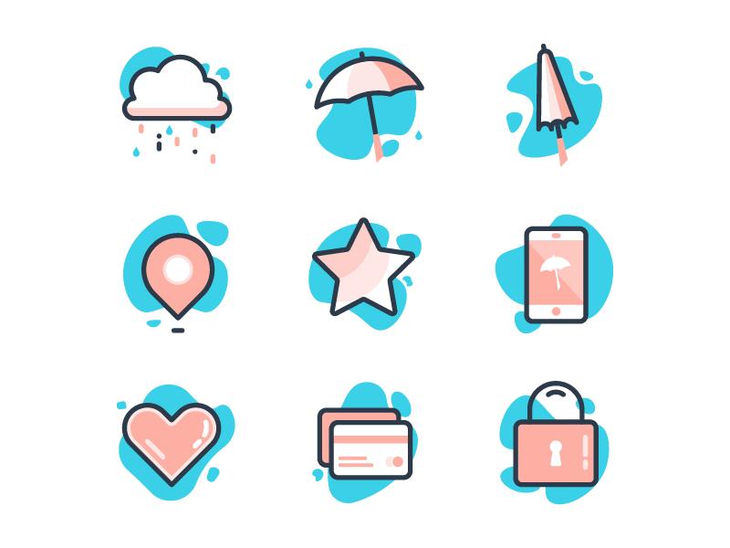 Rainy Day Icons clouds lock phone credit card drops umbrella rainy day rain