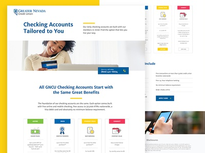 Landing Page for Greater Nevada Credit Union icons ui banking checking credit union landing