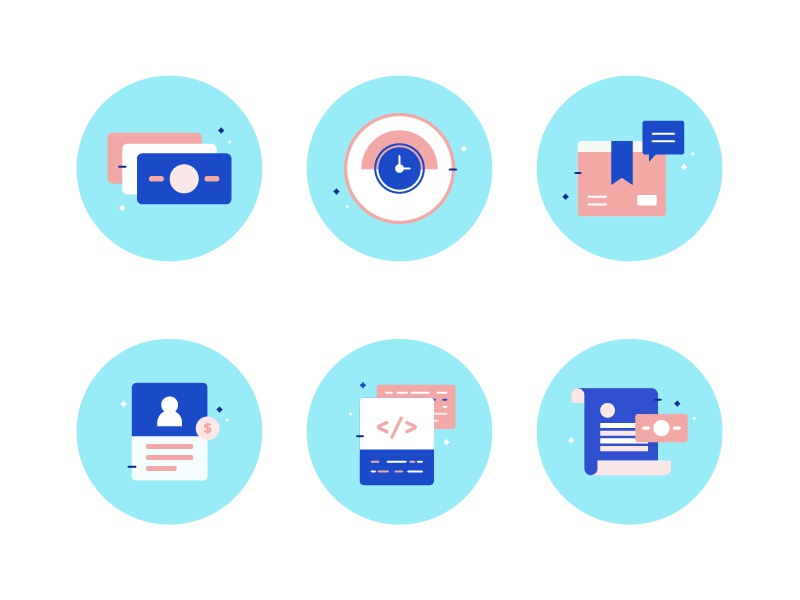 Finqle Factoring Icons - Exploration icons illustration factoring system start up development payment