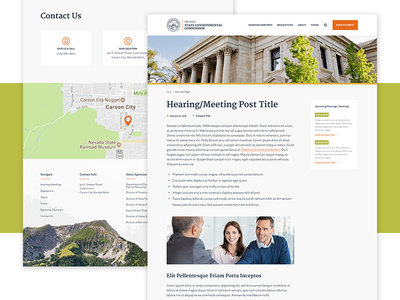 Nevada State Environmental Detail Page hero layout contact icons ui nevada landing page website