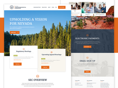 State Environmental Homepage hero layout contact icons ui nevada landing page website