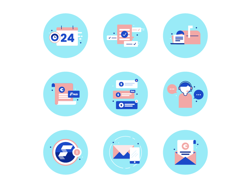 Finqle Factoring Icons - Part 2 payment development start up system factoring illustration icons