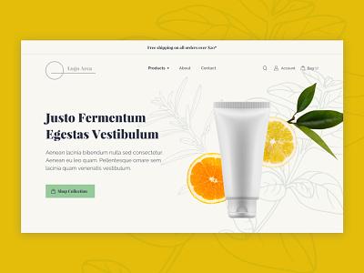Header Exploration ecommerce e-commerce landing homepage ui beauty products shop hero