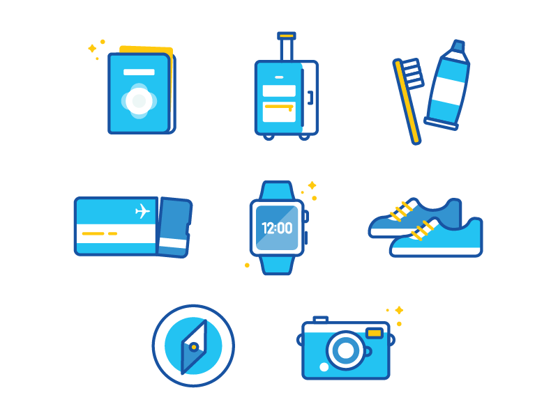 Travel Icons travel icons illustration ticket luggage passport airport camera toothbrush watch