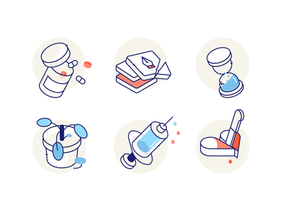 2018. Byesss! isometric medical pills time syringe heart plant pilea icons reno