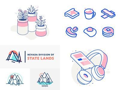 2018 isometric line art design icons icon lines illustration