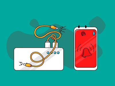Alarmed Mobile illustration graphic powerbank alarmed cables mobile