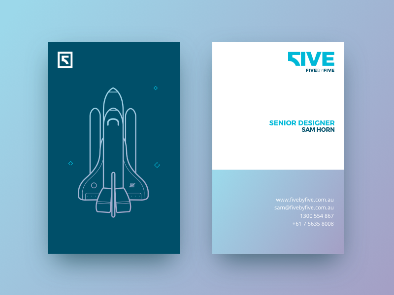 5x5 Business Cards websites space illustration blue rocket icon logo clean gradient cards business cards