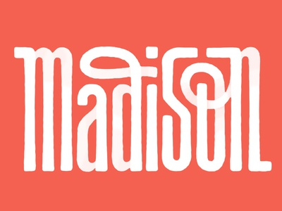 Madison - Interlocking Letterforms texture white red unicase script sans-serif interlock interlocking wisconsin madison handlettering lettering