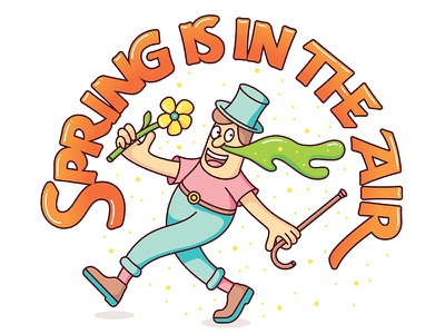 Spring Is In The Air pollen flowers snot lettering illustration spring