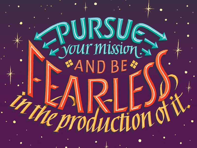 Pursue Your Mission --- Lettering Quote roman italic pursue fearless space stars arrows colorful ligature illustration quote lettering