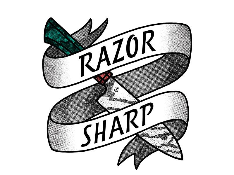 Razor Sharp - T-Shirt Graphic knife sharp texture half tone pattern damascus banner lettering