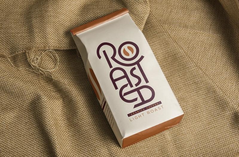 Vectober - Roasted caps capitals roman monoline inktober2018 burlap coffee beans coffee bag coffee typography type custom type logo logotype lettering design vectober inktober