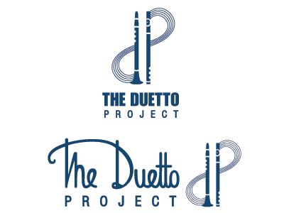 Duetto Logo logo clarinet flute music staff hand drawn typography