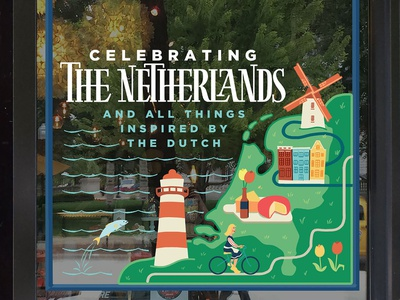 Netherlands Window Painting typography waves painting window grass lighthouse windmill tulips beer river cheese map land fish amsterdam bike dutch netherlands illustration lettering