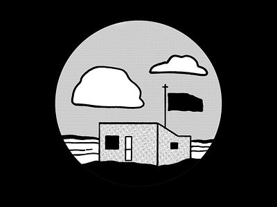 outpost deserted isolated solo clouds digital illustration design757 design illustration graphic design inktober outpost