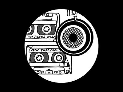 music headphones tape deck cassette tape cassettes music digital illustration design757 design illustration graphic design