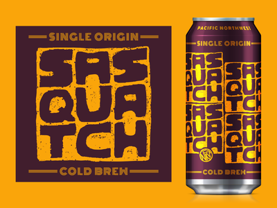 Single Origin - Sasquatch - Cold Brew sasquatch mock-up packaging coffee cold brew coffee lettering typography logo nfk identity design branding digital illustration design757 design illustration graphic design