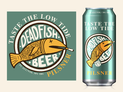 Dead Fish Beer pilsner beer can beer fish dead fish mock-up package design lettering typography logo identity design branding nfk digital illustration design757 design illustration graphic design