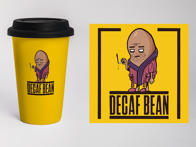 Decaf Bean mock-up package design hot drink decaf coffee identity design branding digital illustration design757 design illustration graphic design