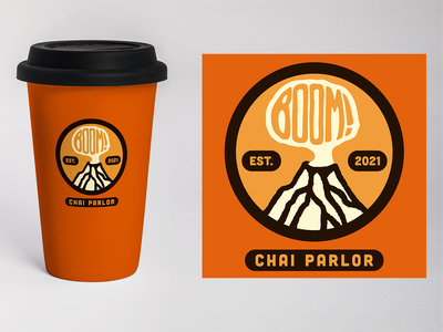 Boom! Chai Parlor mock-up package design explosion boom tea chai volcano minimal design logo identity design branding thicklines digital illustration design757 design illustration graphic design
