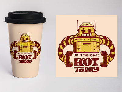 Jimm The Robot's Hot Toddy mock-up packaging design hot toddy robot logo identity design branding digital illustration design757 design illustration graphic design