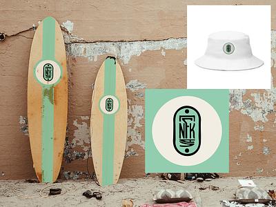NFK VA Surfs Up summer bucket hat surfboard badge logo nfk branding digital illustration design757 design illustration graphic design