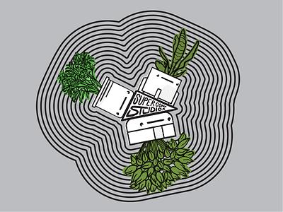 Tri-force Plants planters pots green radiating pennant plants zorathian thicklines nfk design757 design illustration graphic design
