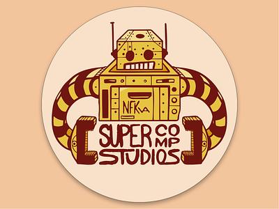 SCS Robot badge robot button nfk digital illustration design757 design illustration graphic design