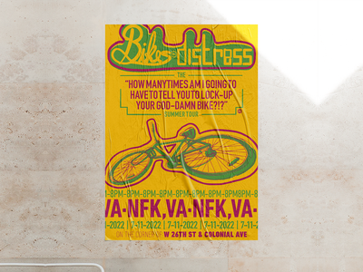 Bikes in Distress - Lock-Up UR GD Bike - Gig-Poster bicycle bikes poster design poster gig poster digital illustration design757 design illustration graphic design