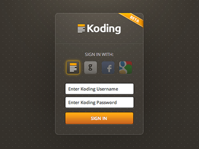 Sign in with Koding signin login koding ui