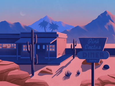 Desert Diner 🌵 texture illustration procreate sunset restaurant palmtree cactus diner desert