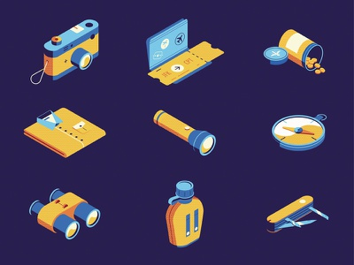 What to Pack for a Safari? safari binocular passport camera travel vector iconography icon isometric