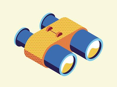 Binoculars binoculars halftone icon isometric vector