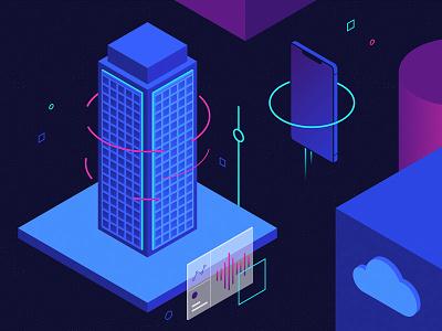 Digital Powerhouse phone building gradient blog digital illustration vector isometric