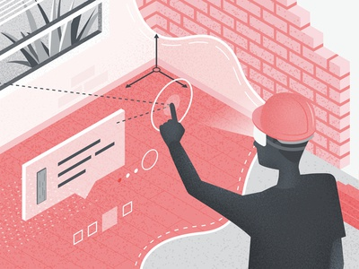 Augmented Reality for Building Manufacturers ar reality augmented building texture blog digital vector illustration isometric