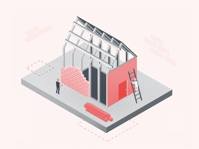 Building a House house building texture illustration isometric vector
